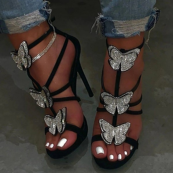 Stiletto Heels Strappy Rhinestone Butterflies Open Toe Sandals