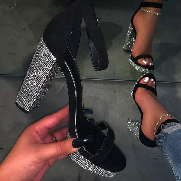 Stunning Black Platform Sandals Rhinestones High Heel Sandals