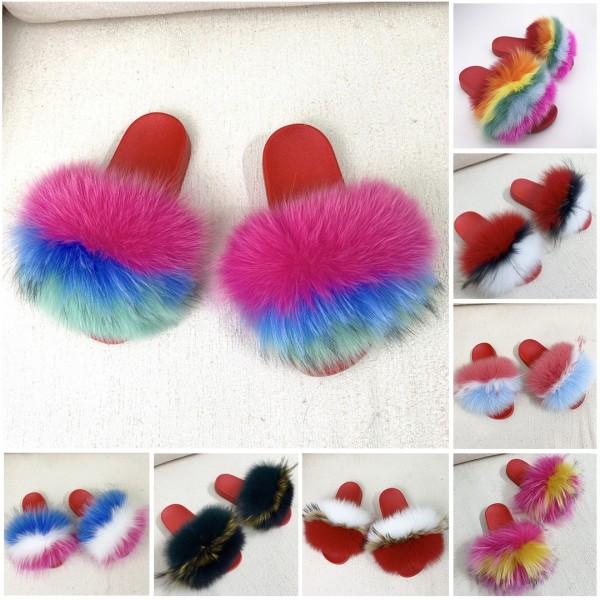 Red Furry Slides Summer Big Fur Slide Sandals