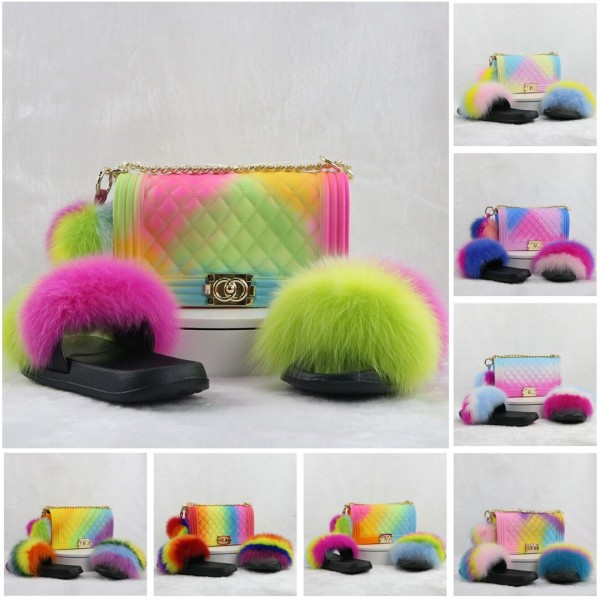 Rainbow Fur Slides with Matching Shoulder Bag Pom Pom Ball Set