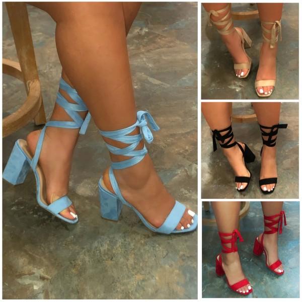 Basic Pump Sandals Black Sash Straps Block Heel Sandals