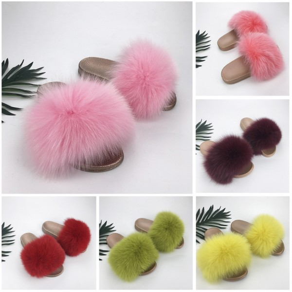 Pink Fur Slides Fluffy Gold Sole Women's Fur Sandals