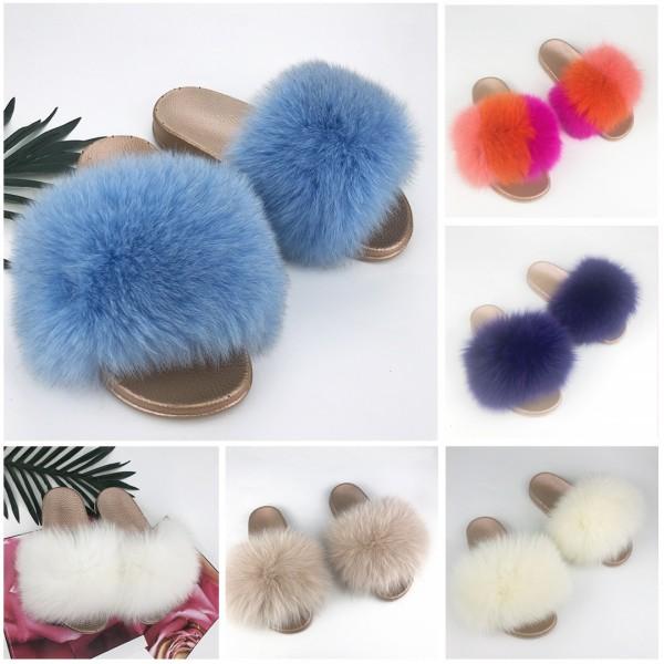 Blue Furry Slides Summer Fur Slide Sandals