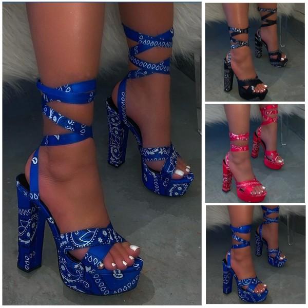 Bandana Platform Heel Sandals Ankle Straps Peep Toe Sandals