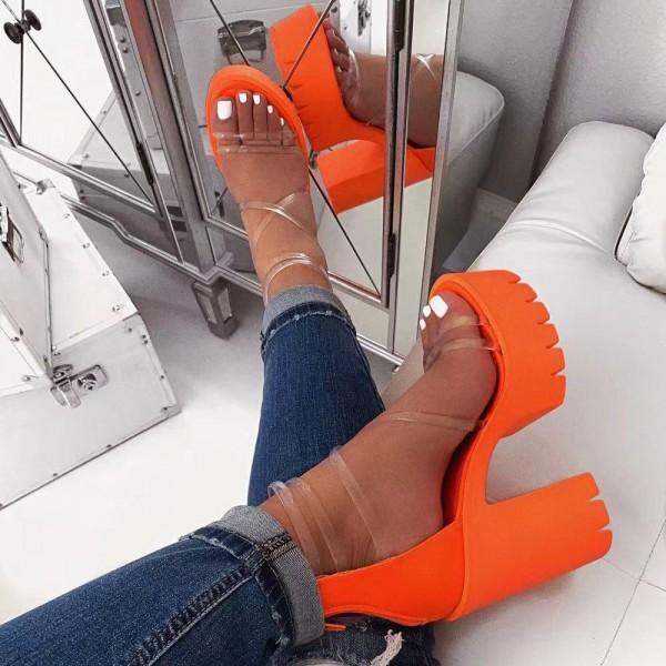 Orange Platform Heel Sandals Transparent Straps Chunky Heels