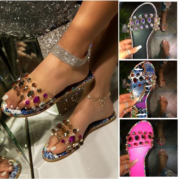 Women's Slide Sandals Glittering Crystals Rhinestone Flat Slides