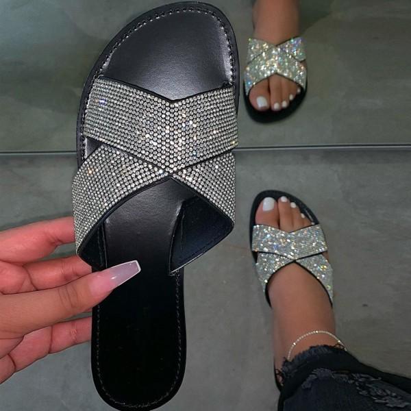 Glittering Slide Sandals Cross Bands Rhinestone Slippers