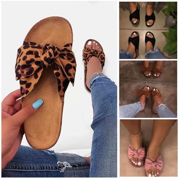 Leopard Slide Sandals Cute Bow Summer Slipper Shoes