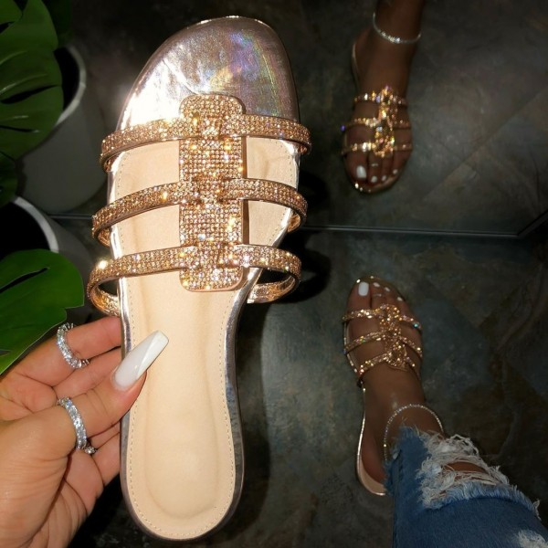 Shiny Silver Slide Sandals Rhinestone Women's Open Toe Sandals