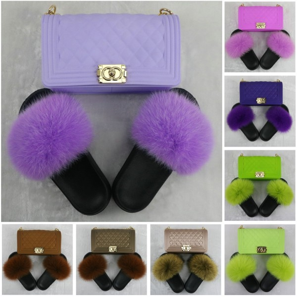 New In Colorful Fur Slides with Matching Purse Set