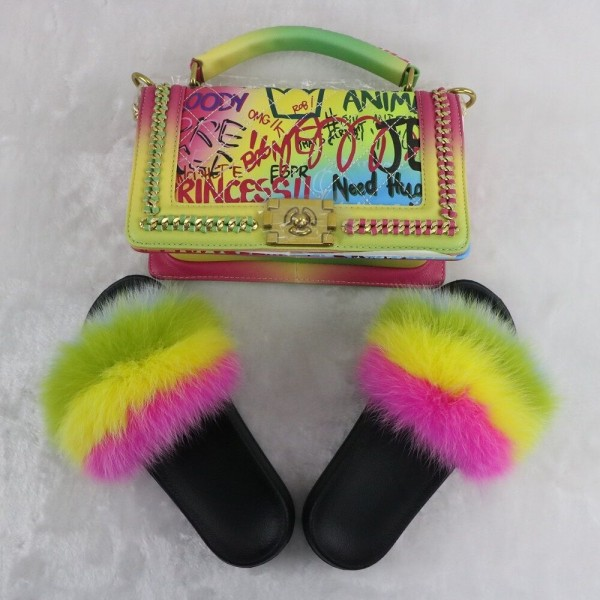 Chic Rainbow Fur Slides with Matching Retro Graffiti Shoulder Bag