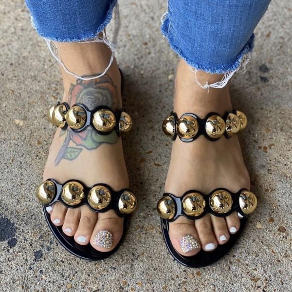 Shiny Slide Sandals Gold Beads Women's Flat Sandals