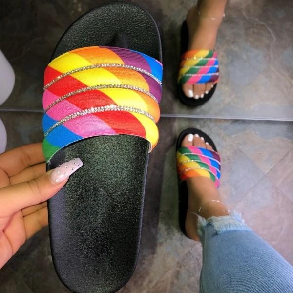 Puffy Rainbow Slide Sandals Shiny Rhinestones Flat Slippers