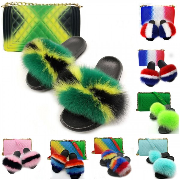 New Arrival Fur Slides with Matching Purses Set