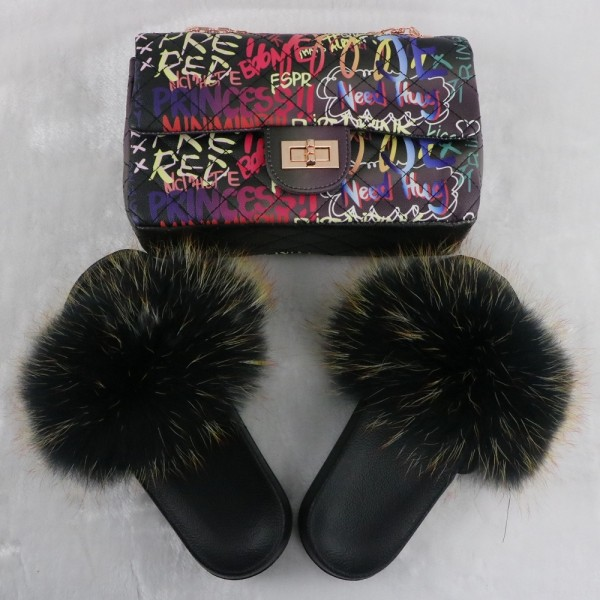Black Fluffy Fur Slides with Matching Graffiti Printed Purse Set