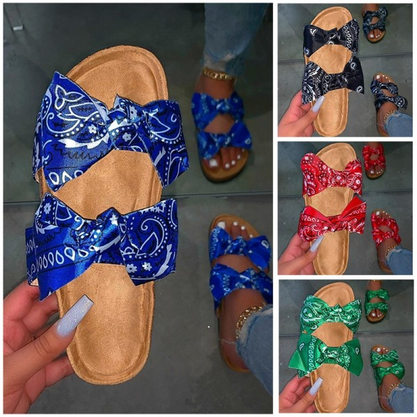 Cute Bows Bandana Slide Sandals Women's Slip-On Slides
