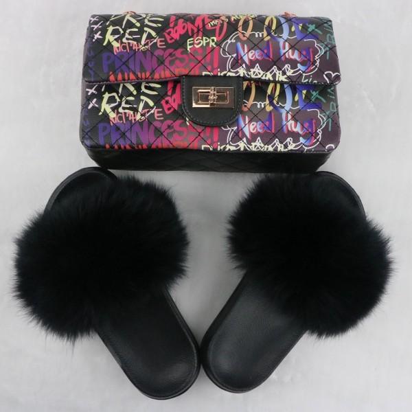 Black Fur Slides with Matching Graffiti Print Shoulder Bag Set