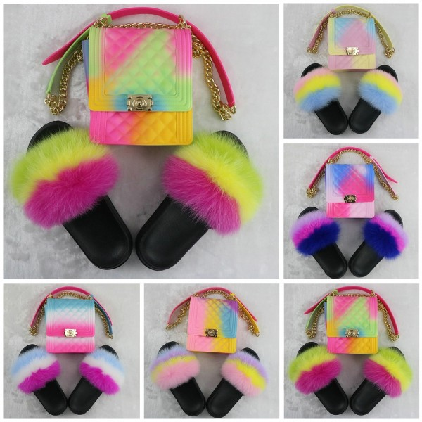Rainbow Color Fur Slides with Matching Crossbody Bag