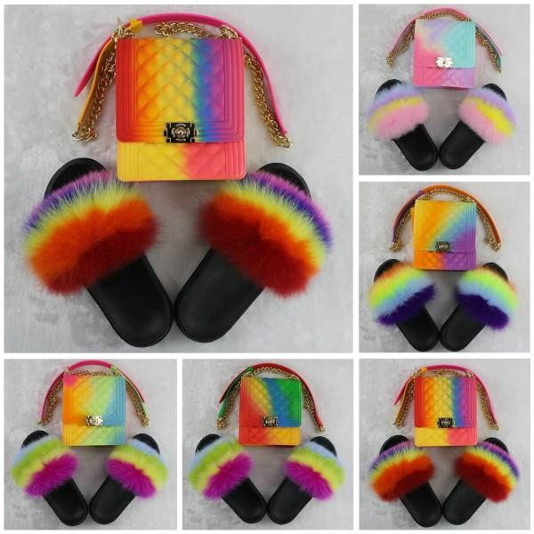 Colorful Fur Slides with Matching Phone Bag Set