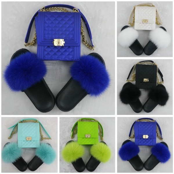 Solid Color Fur Slides with Matching Crossbody Bag