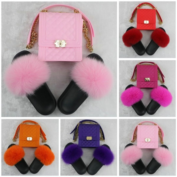 Pink Fur Slides with Matching Jelly Phone Bag Set