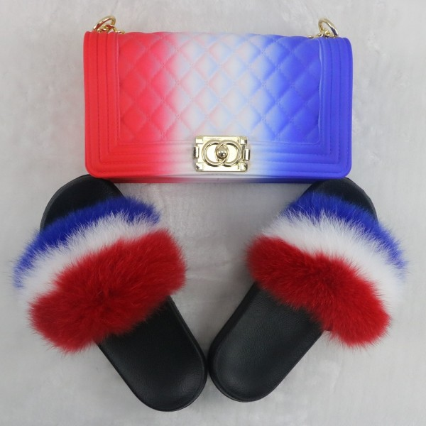 French Fur Slides with Matching Jelly Purse Set