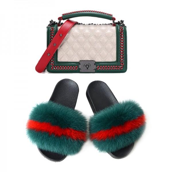 Dark Green Fur Slides with Matching Shoulder Bag Set