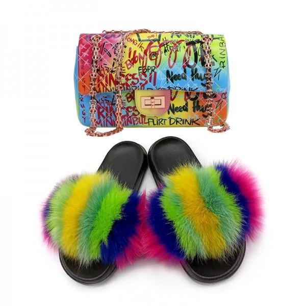 Rainbow Fur Slides with Matching Graffiti Shoulder Bag Set