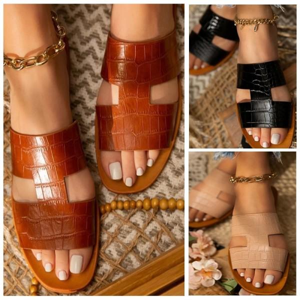 Flat Slide Sandals PU Leather Open Toe Slippers