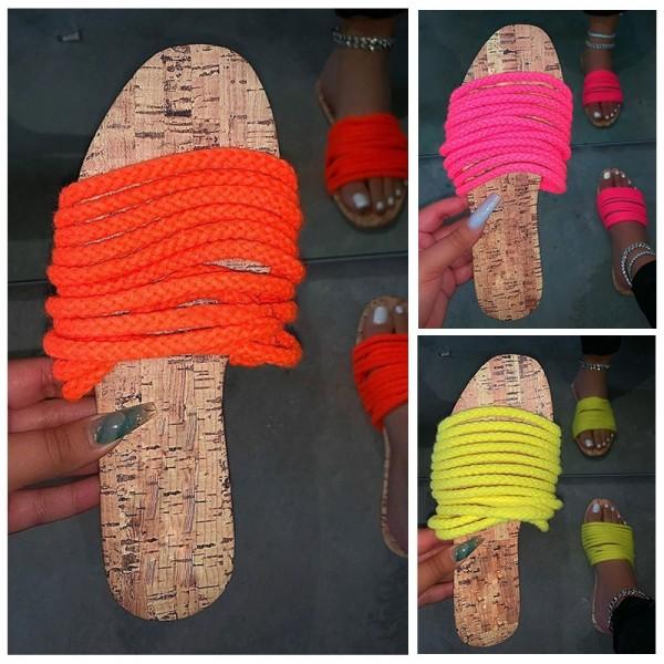 Fashion Women Slippers Shoes Multi-Straps Flat Slides Sandals