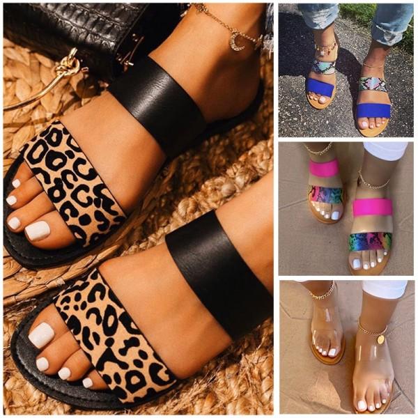 Two Straps Slide Sandals Women's Chic Flat Slide Shoes