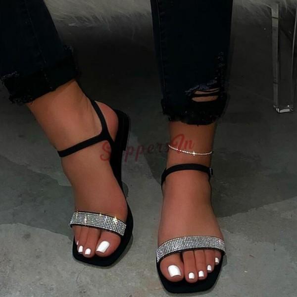 Women's Black Rhinestone Sandals Open Toe Slip-on Flat Summer Shoes