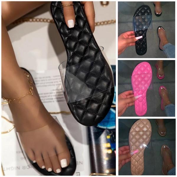 Transparent Clear Band Flat Slide Sandals