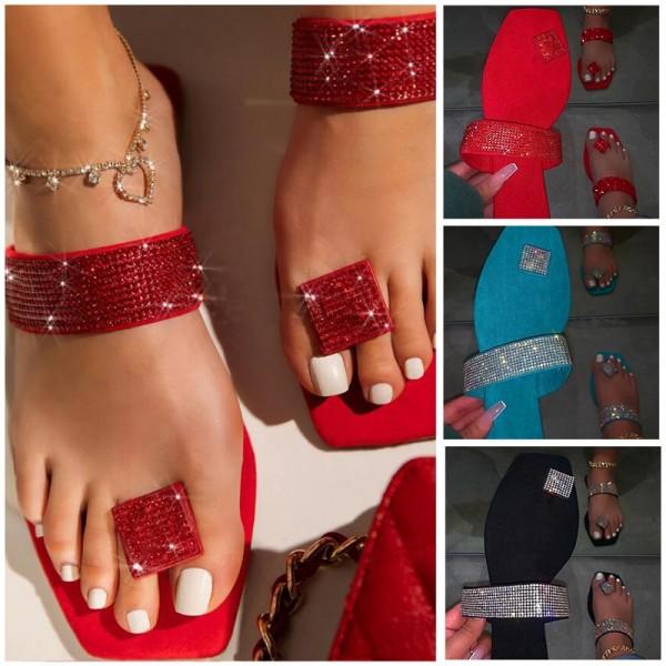 Shiny Rhinestones Flip Flops Diamond Slide Sandals