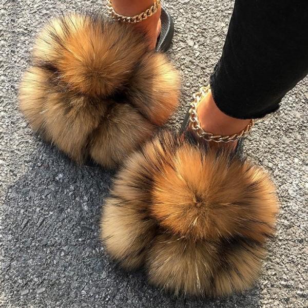 New Pom Pom Fur Slides Solid Color Furry Slippers