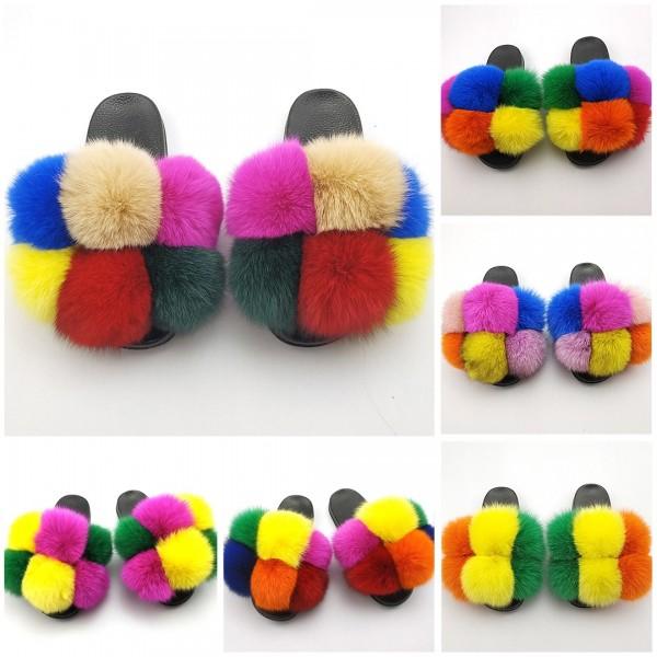 Cute Pom Fur Slides Fluffy Multi-color Furry Slippers