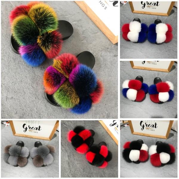 Cute Pom Pom Furry Slides Color-blocked Fluffy Fur Sandals