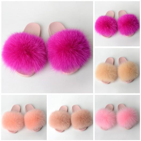 Pink Fur Slides Slippers Big Fluffy Fur Sandals