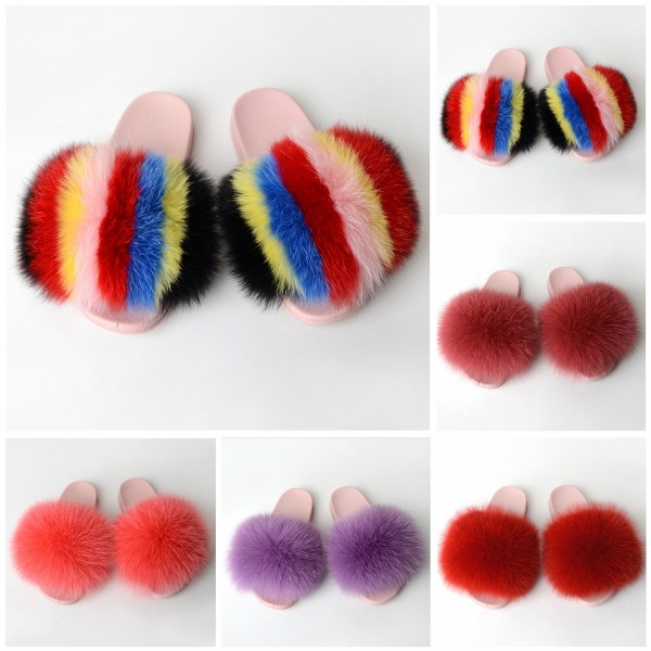 New In Slides Slippers With Pink Color Sole Fluffy Fur Sandals