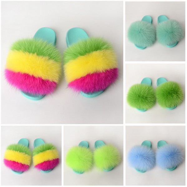 Mint Green Fur Slides Fluffy Fur Sandals