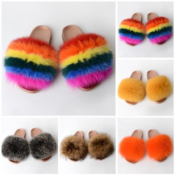 Gold Sole Fur Slides Fluffy Fur Slippers