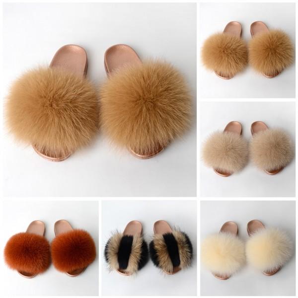 Gold Fluffy Fur Slides New Arrival Open Toe Fur Sandals