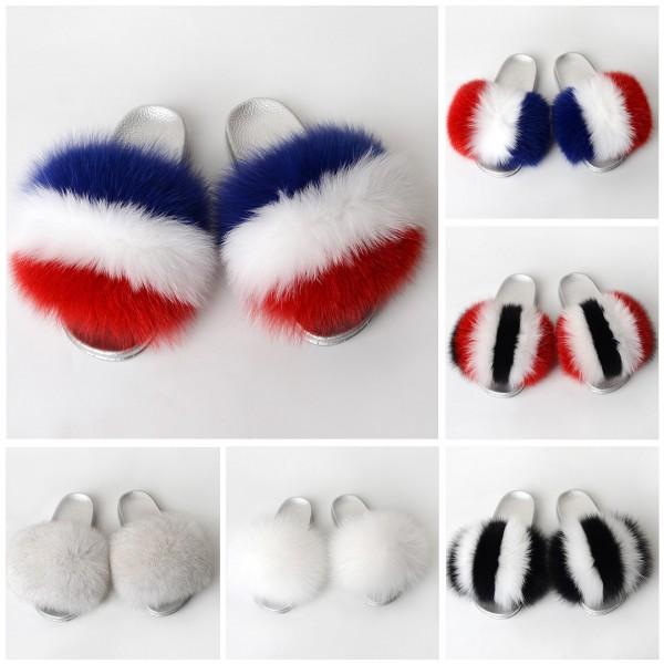 Silver Fur Slides Open Toe Fluffy Slides Sandals