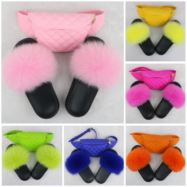 Colorful Furry Slides with Matching Waist Bag