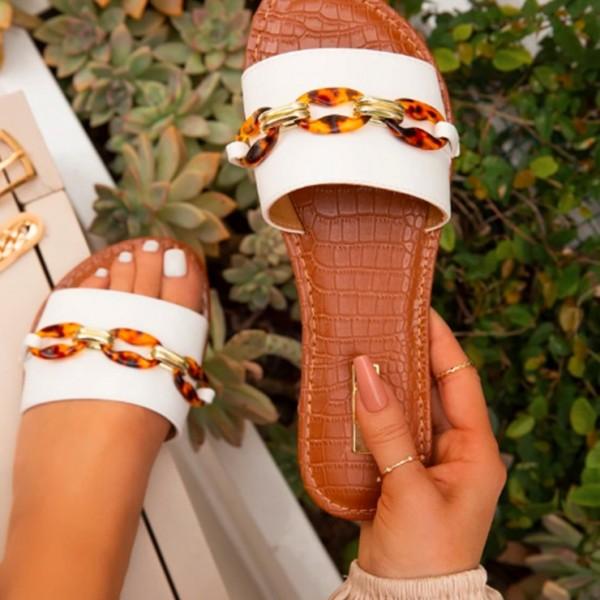 Flat Slide Sandals Chain Embellishments Clear Slippers