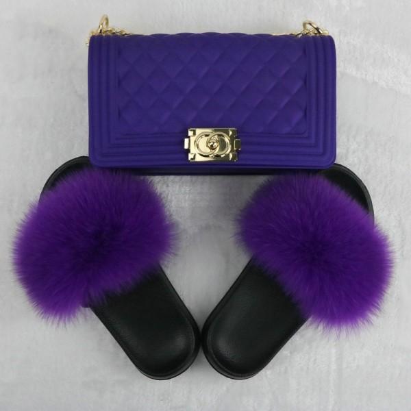 Purple Fur Slides with Matching Chain Shoulder Bag