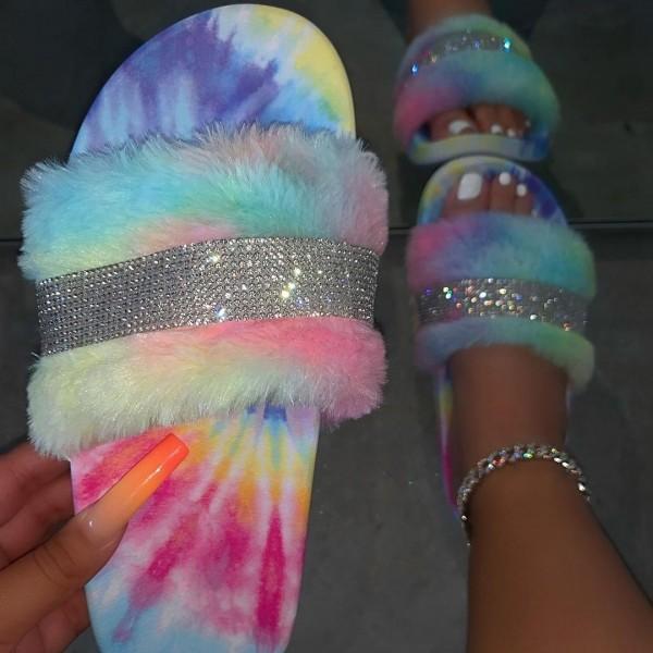 Shiny Fuzzy Platform Sandals Rhinestones Women's Flatform Slippers