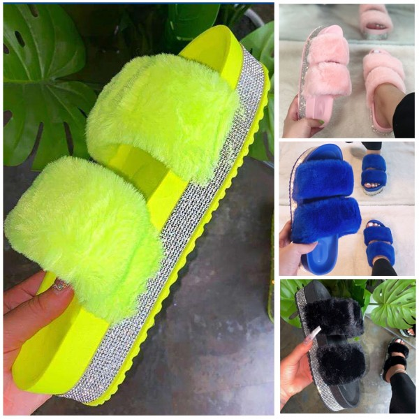 Fuzzy Two Straps Platform Sandals Rhinestones Flatform Slippers