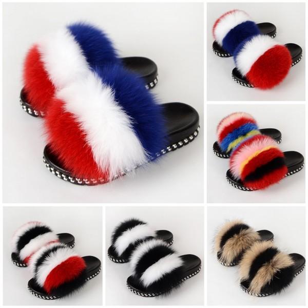 New In Colorful Fur Slides Rivet Sole Furry Sandals