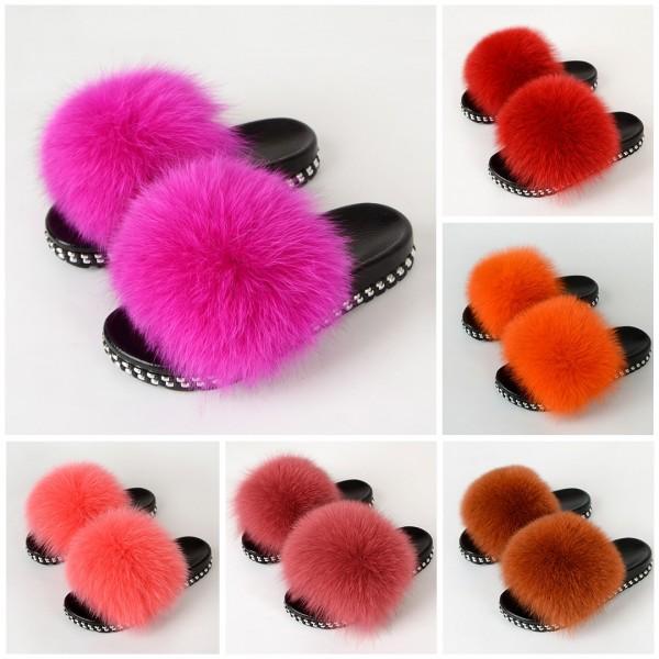 Women's Fluffy Slides Fur Slides Sandals With Rivet Sole